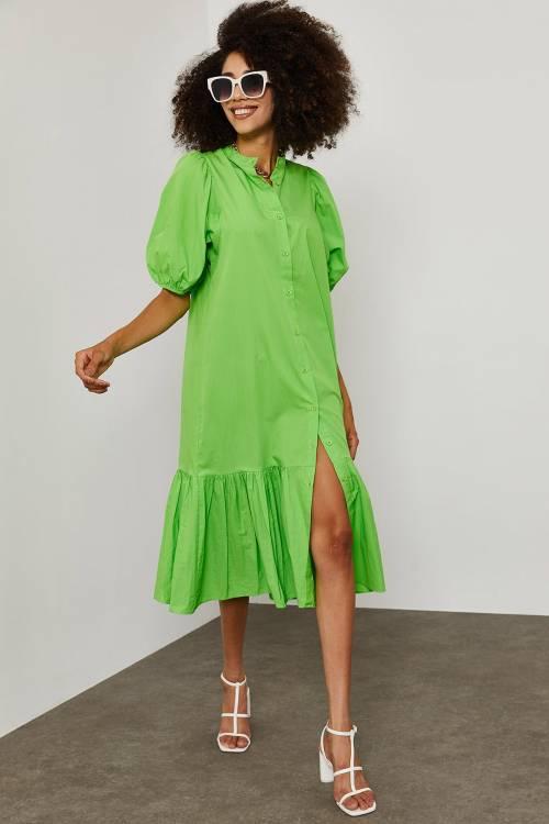 XHAN - Yeşil Poplin MidiBoy Elbise 1YXK6-45253-08