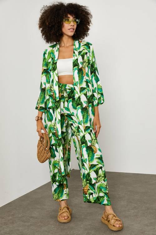 XHAN - Yeşil Tropik Desen Kimono Takım 1YXK2-45151-08