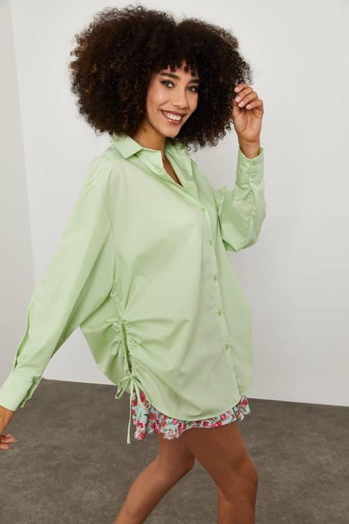 XHAN - Yeşil Yanı Büzgülü Gömlek 1YXK2-45119-08