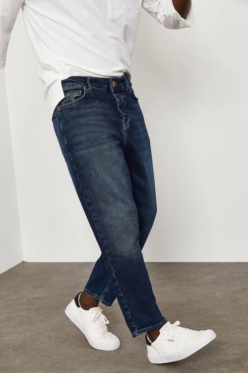 XHAN - Yıkamalı Lacivert Bilek Boy Yıkamalı Kot Pantolon 1YXE5-45105-48