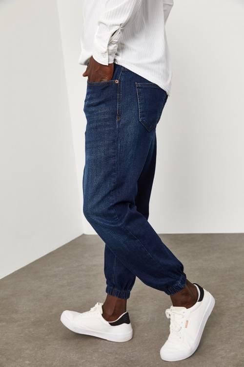 XHAN - Yıkamalı Lacivert Paçası Lastikli Kot Pantolon 1YXE5-45106-48