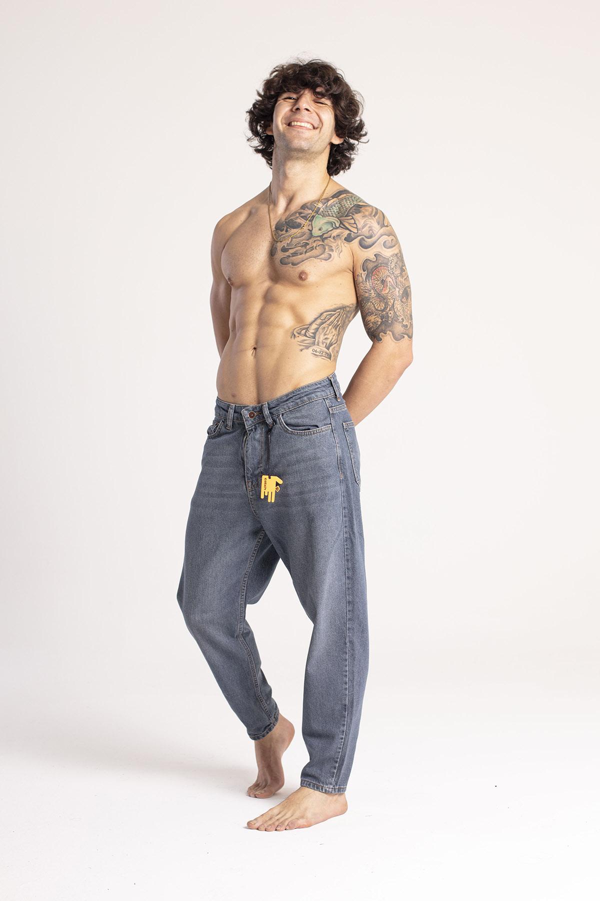 XHAN - Yıkamalı Mavi Boyfriend Kot Pantolon 1KXE5-44671-49