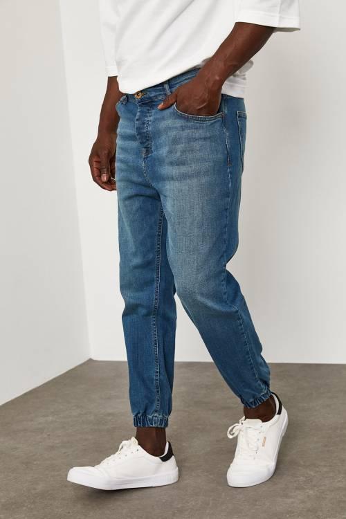 XHAN - Yıkamalı Mavi Paçası Lastikli Kot Pantolon 1YXE5-45106-49