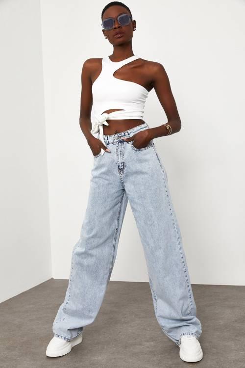 XHAN - Yıkamalı Mavi Yüksek Bel Oversize Jean Pantolon 1KXK5-44844-49