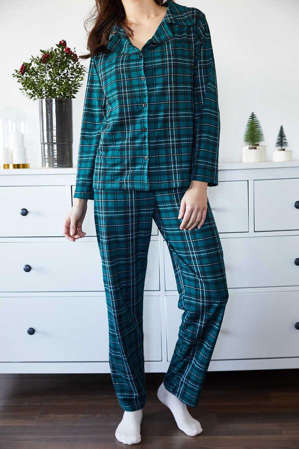 Zümrüt Yeşili Kareli Örme Pijama Takımı 1KXK8-44700-44