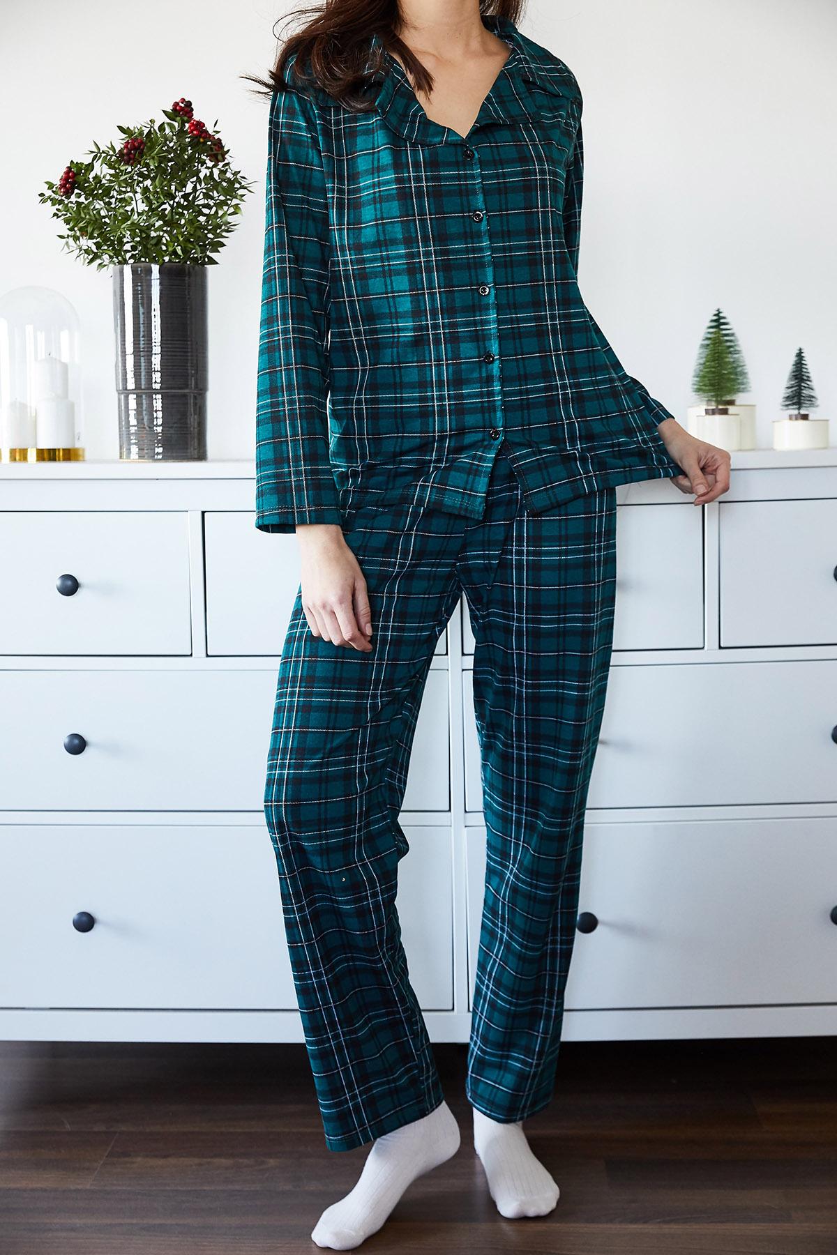 Zümrüt Yeşili Kareli Örme Pijama Takımı 1KXK8-44700-44 - Thumbnail
